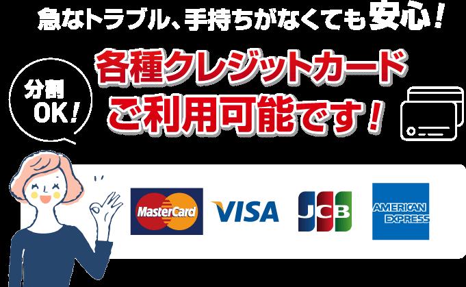 各種クレジットカードご利用可能です!